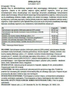 etykieta tabletki na oczyszczenie organizmu spirulin plus